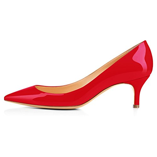 Comfity Pumps Voor Dames, Dames Slip Op Kitten Hakken Sexy Puntschoen Schoenen Jurk Office Pumps Hot Red