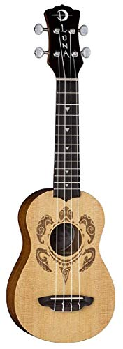 (Luna Honu Turtle Spruce Soprano Ukulele with Gig Bag, Satin Natural)