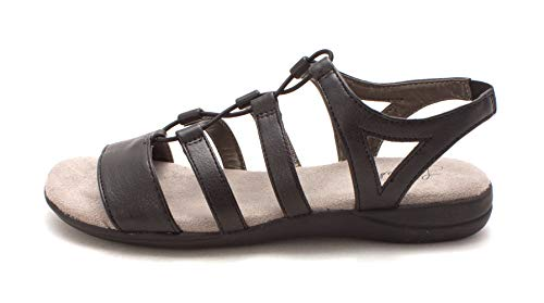 LifeStride Womens Elbe Open Toe Casual Strappy Sandals, Black Moto, Size 6.5 -
