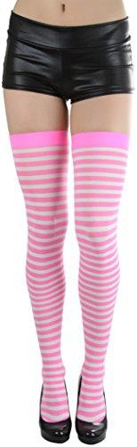 ToBeInStyle Women's Striped Thigh Hi - Neon -