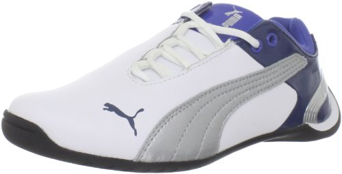 Puma Future Cat M2 Jr Fashion Sneaker (Infant/Toddler),White/Puma Silver/Dark Denim,5 M US Big Kid (Casual Future Puma Cat)