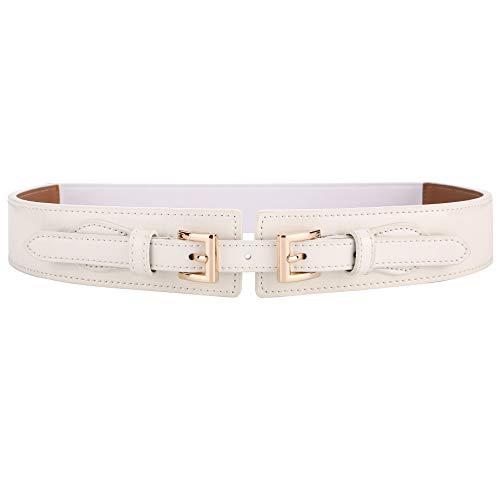 - Ayli Women's Waist Belt Shiny Patent Leather Elastic Stretch Cinch Belt, Style 1 White, Fits Waist 26