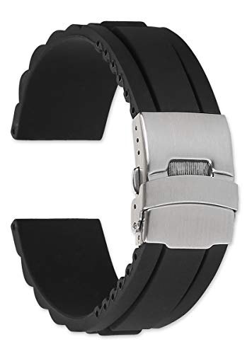 22mm Oyster Style Divers Clasp Rubber Replacement Watch Band - Black (Divers Band Clasp Watch)