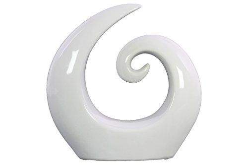 Urban Trends 21267 Ceramic Spiral Abstract Sculpture on Base, White