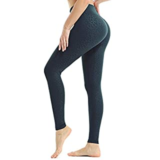 JOYSPELS Workout Leggings for Women Yoga Pants with Pockets High Waisted Spandex Exercise Running Athletic Leopard Leggings (Blackish Green, S)