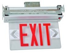 Morris Products LED Exit Sign – Recessed Mount Edge – Red on Clear Panel, Anodized Aluminum Housing – Compact, Low-Profile Design – Single Sided Legend – Energy Efficient, High Output – 1 Count ()