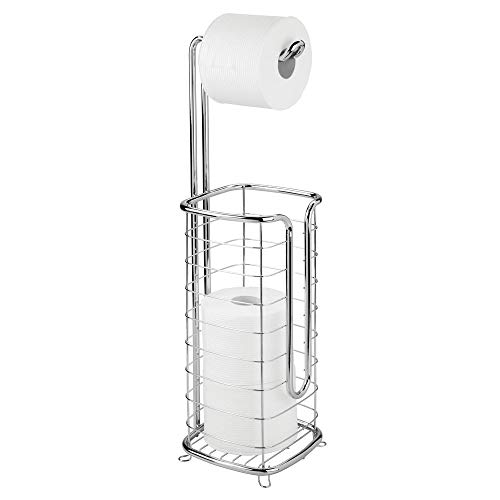 - mDesign Free Standing Toilet Paper Holder Stand and Dispenser, with Storage for 3 Spare Rolls of Toilet Tissue While Dispensing 1 Roll - for Bathrooms/Powder Rooms - Holds Mega Rolls - Chrome