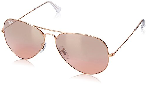 Ray-Ban AVIATOR LARGE METAL - GOLD Frame CRYS.BROWN-PINK SILVER MIRROR Lenses 62mm - Ban Ray Aviators