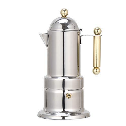 Stovetop Espresso Maker,Express Coffee Maker,Moka Pot 4 Cups Demitasse Espresso Shot,Stainless Steel,Italian Design for Espresso, Cappuccino and ()