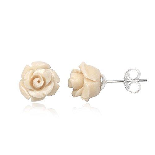 """Fashionvictime - Boucles D'Oreilles Femme - """"Rose"""" - Argent 925 - Corail - Bijou"""