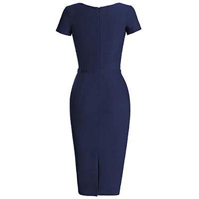 MUXXN Women's 1950s Vintage Short Sleeve Pleated Pencil Dress: Clothing