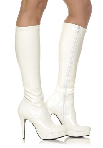 Ellie Shoes Womens Groove Patent Platform Knee-High Boots White 7 Medium (B,M)