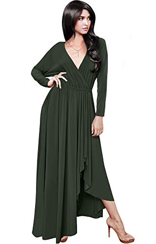 KOH KOH Womens Long Sleeve Sleeves Wrap Slit Split Formal Fall Winter Cocktail Sexy Flowy Evening Day Abaya Gown Gowns Maxi Dress Dresses, Olive Green L 12-14