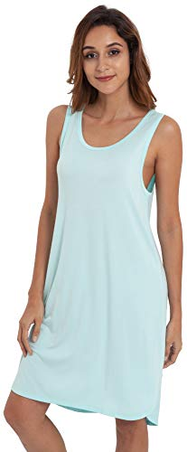 GYS Women's Soft Bamboo Scoop Neck Nightgown, Aqua, Small