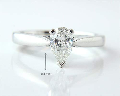 Gia Certified 0.30 Carat Pear Cut Natural Diamond 14K WHite Gold Wedding Ring ()