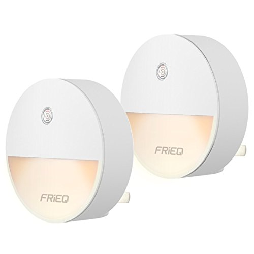 FRiEQ LED Plug in Night Light with Dusk to Dawn Sensor, Perfect for Bedroom, Bathroom, Kitchen, Stairs, or Any Dark Room(2 Pack)