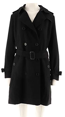 Linea Louis Dell'Olio Double Breasted Woven Trench Coat Black 16 New A267875 from Linea by Louis Dell'Olio