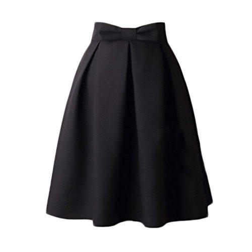junkai Femme Jupes Vintage Jupe Bowknot des Annes 50 vases Jupes Midi Haute Taille Noir