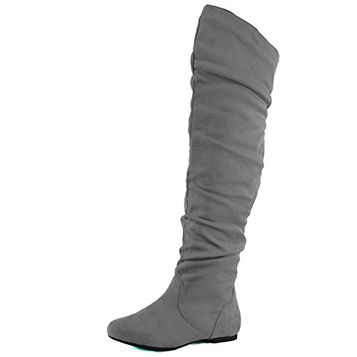 High Pull Knee (Nature Breeze Women's Vickie Stretchy Thigh High Boot,Grey,7.5)