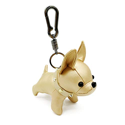 Poppow Handmade French Bulldog Keychain Cute Leather Car Key Rings Pendant Gift Purse Handbag Backpack Charm Accessories (Gold)
