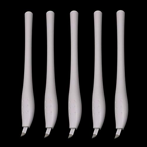 Microblading Pen - Yuelong 5PCS Sterilized Disposable Eyebrow Pen with 14F Microblading Needles Manual Eyebrow Tattoo Pen Microblading Supplies Permanent Makeup Needles for Eyebrow and Lips (14F) ()