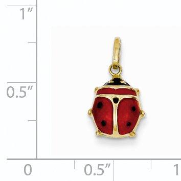 14k Yellow Gold Red Enameled Ladybug Pendant
