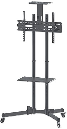 Manhattan 461238 Universal TV-Ständer auf Rollen, Basic Line für Bildschirme 93,9-177 cm (37-70 Zoll) schwarz/silber