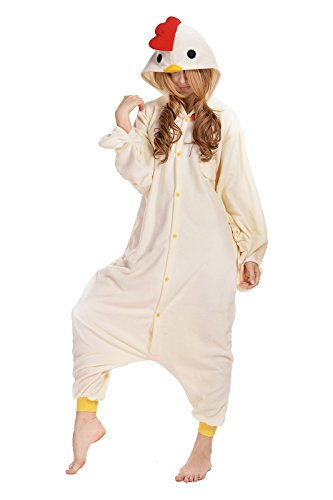 Louis Anmie Onesie Pajamas Cosplay Costume for Halloween (small, white chicken)