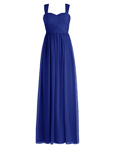 Dressystar Straps Bridesmaid Prom Dresses Long Evening Gowns for Juniors Size 16 Royal Blue