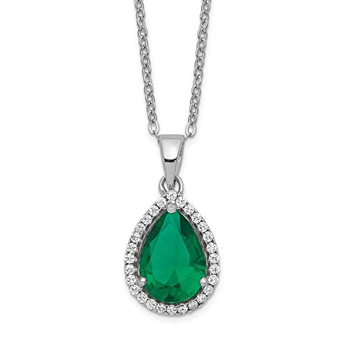 925 Sterling Silver Simulated Green Emerald Cubic Zirconia Cz Chain Necklace Set Pendant Charm S Pear Birthstone Fine Jewelry Gifts For Women For Her