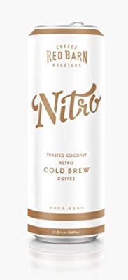 Toasted Coconut Nitro Cold Brew Coffee (12 11.5 fl. oz. cans) | Red Barn Coffee Roasters | Shelf-Stable - No Refrigeration Req'd | Coconut Creamer | 240mg Caffeine