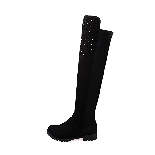Allhqfashion Women's Imitated Suede High-Top Solid Pull-On Low-Heels Boots with Crystals Black Ngl8XnTyu
