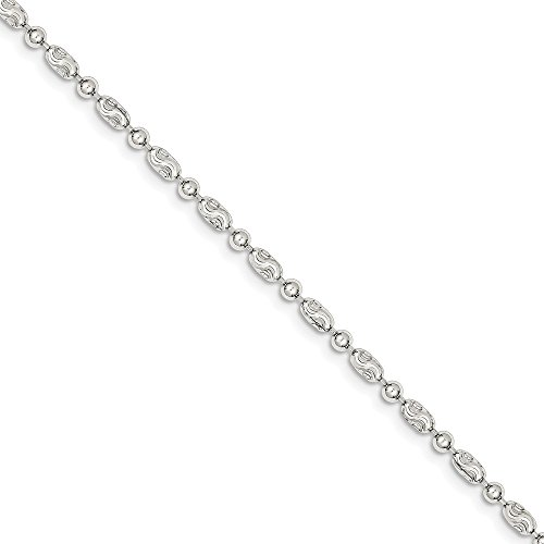 Brilliant Bijou Solid .925 Sterling Silver 3mm Polished Round and Textured Oval Bead Chain Necklace 18 inches ()