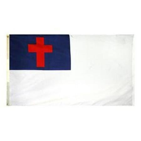 3x5 FT Double Sided Christian Church Flag WindStrong® Nylon Durable Outdoor/Indoor Flag Material With Header and Brass Grommets Reinforced Corners Satisfaction Guaranteed