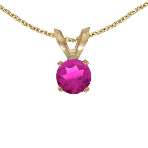 Jewels By Lux 14k Yellow Gold Genuine Birthstone Round Pink Topaz Pendant (0.3 Cttw.)