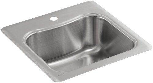KOHLER K-3363-1-NA Staccato Single-Basin Self-Rimming Entertainment Sink, Stainless Steel
