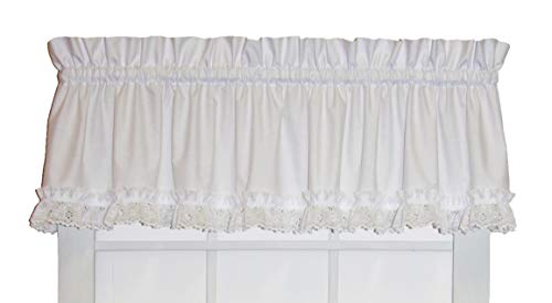 (Window Toppers Cape Cod Ruffle Straight Valance Curtain with Lace Ruffle 70-Inch-by-12-Inch,)