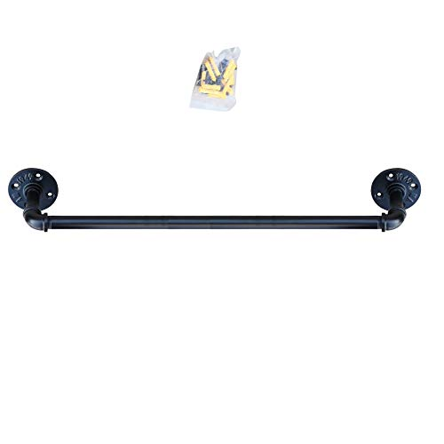 Industrial Pipe Towel Bar Fixture Set,Pipe Towel Rack,Towel Horse,Bath Towel Holder,Wall Mounted DIY Style,Black Epoxy Coated Finish,24 Inch