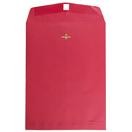 JAM PAPER 9 x 12 Colored Recycled Envelopes with Clasp Closure - Red Recycled - -