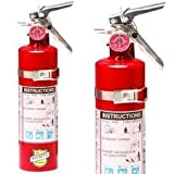 (Lot of 2) 2 1/2 Lb. Type ABC Dry Chemical Fire Extinguishers, with 2 - Vehicle Brackets and 2 - Yellow Service Tags