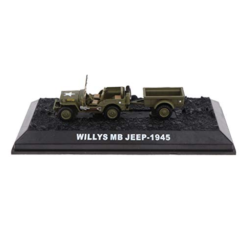 (Flameer 1/72 Scale Diecast Model Willys MB 1942 WWII Jeep US Army Vehicle Soldier Toys)