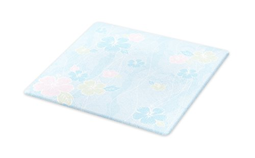 Lunarable Vintage Flower Cutting Board, Tropical Hibiscus Blooming in Soft Colors Botanical Hawaii, Decorative Tempered Glass Cutting and Serving Board, Small Size, Pale Blue Green and Pink by Lunarable