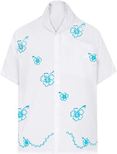 LA LEELA Shirt Casual Button Down Short Sleeve Beach Shirt men Embroidered 170 White
