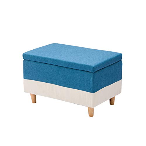 KSWD Reposapiés, Azul Otomanas Escabel Taburete Paño Sofá Sala de Estar Cambio de Zapatos Gran tamaño Almacenamiento,M