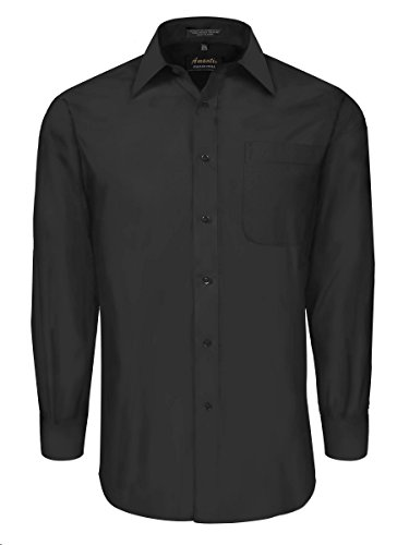 Classic Fit Dress Shirt with Convertible Cuffs - Black Large 36/37