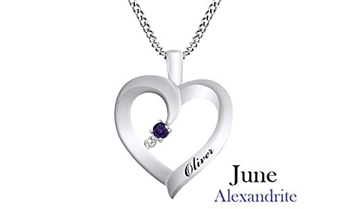 (Jewel Zone US Personalized Engravable Heart Shape Simulated Alexandrite Pendant Necklace 14 White Gold Over Sterling Silver - Custom Made Any Name)