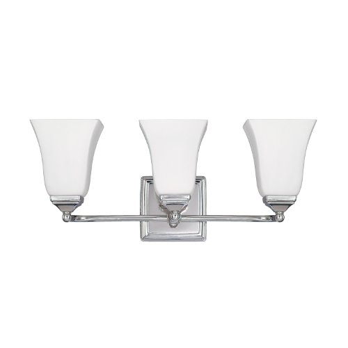 Capital Lighting 8453PN-119 Traditional 3-Light Vanity Fixture, Polished Nickel Finish with Soft White ()