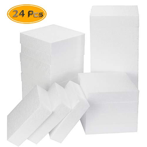 BcPowr 24Pack Premium Polystyrene Foam Board, White Square Polystyrene Foam Block, Smooth Craft Bricks for Sculpture, Modeling, DIY Arts and Sculpture,Kids Class, Floral Arrangement, 4 x 4 x 1Inches from BcPowr