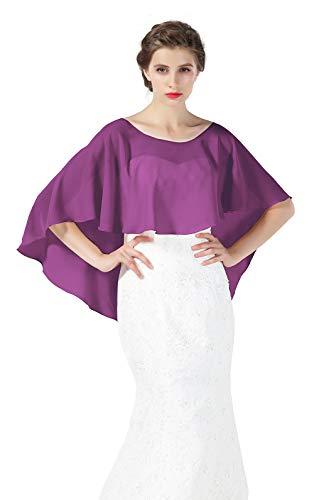 Bridal Capelet Chiffon Cape Shawls High-Low Short Tops For Women Wedding Dresses Grape Purple