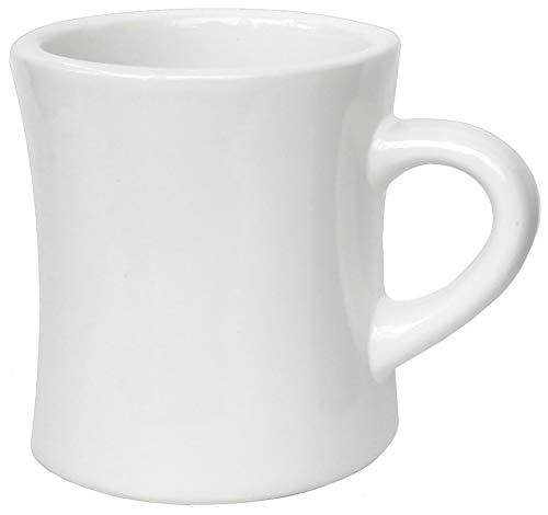 Solid 10 Oz Ceramic Mug - ITI Ceramic Diner Coffee Mugs with Pan Scraper, 10 Ounce (6-Pack, Pure White)